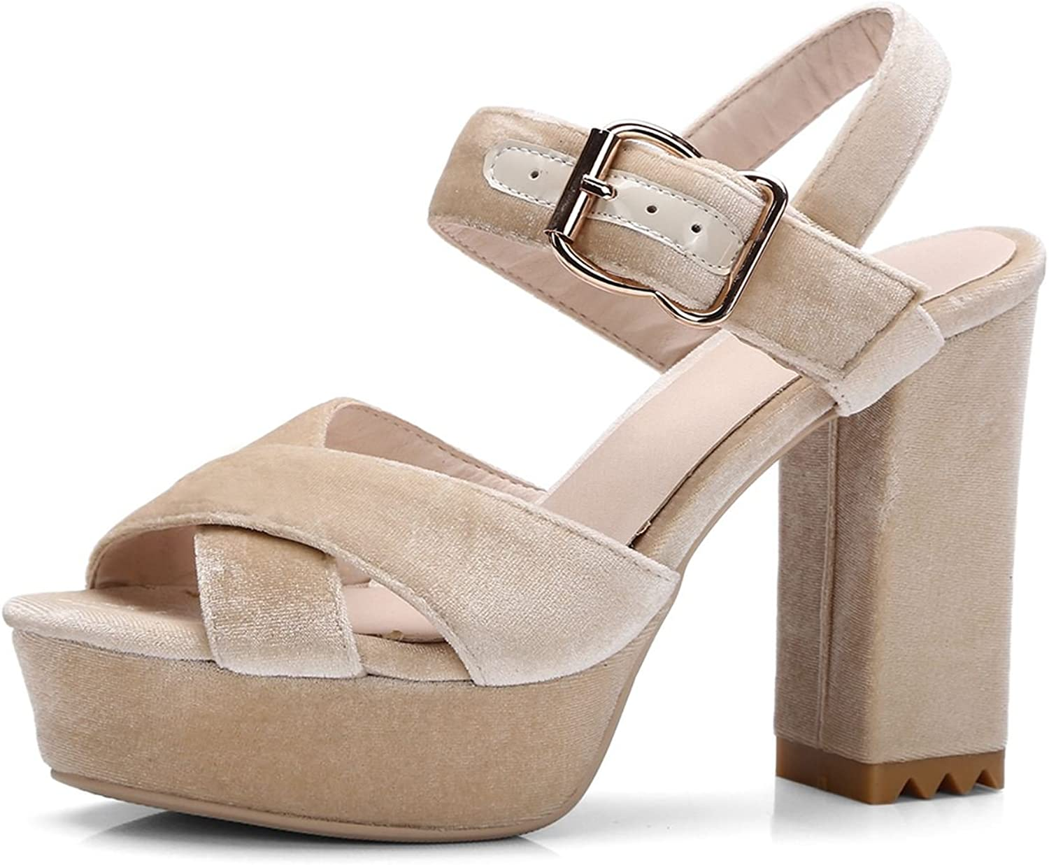 DoraTasia Women's Faux Suede High Chunky Heel Ankle Strap Buckle Sandals Size US
