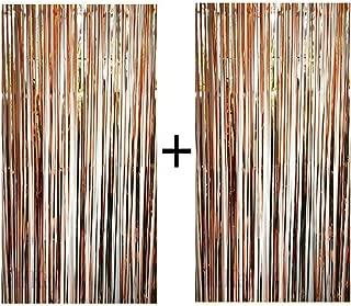 Blukey Foil Fringe Backdrop Metallic Tinsel Curtain 3ft x 8ft (SET OF 2), Rose Gold
