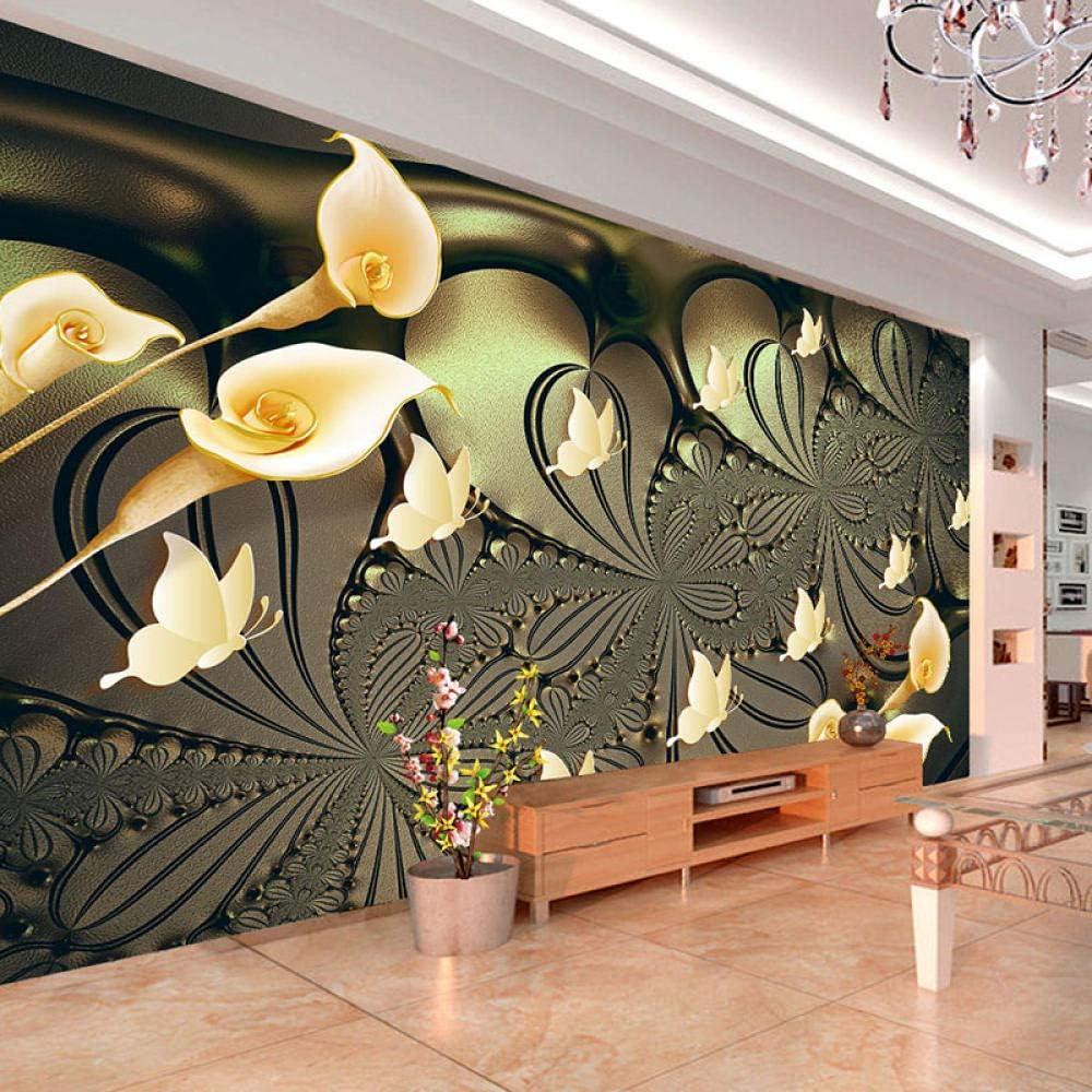 Popular standard 3D Custom Silk Wallpaper Embossed Lily Family Modern M National uniform free shipping Butterfly