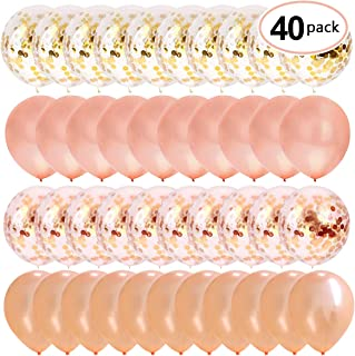 """40pcs Rose Gold Confetti Balloons 12"""" Inch Glitter Balloons for Baby Shower Bridal Shower Party Decorations."""