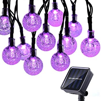 Toodour Solar Globe Christmas Lights, 50 LED 29.5ft Solar String Lights with 8 Modes, Waterproof Crystal Ball Christmas String Lights for Patio, Lawn, Party,Garden, Holiday Decorations (Purple)