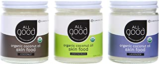 All Good Organic Coconut Oil Skin Food - Natural Moisturizing Skin Care & Massage Oil (Lemongrass, Coconut, Lavender)(3-Pack)