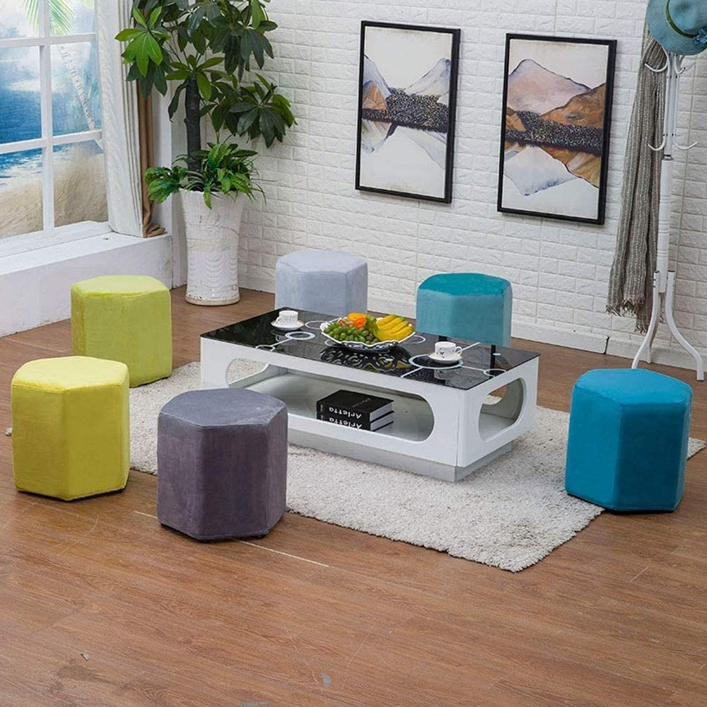 Tabouret de bar Mode créative Hexagonal Salon Repose-pieds Canapé en tissu lavable Chaussures changement Banc Banc moderne Tabouret chaise haute YZJL (Color : Sky Blue) Sky Blue