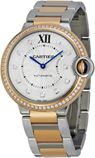 Cartier Ballon Bleu Silver Diamond Dial Steel and Rose Gold Ladies Watch WE902078