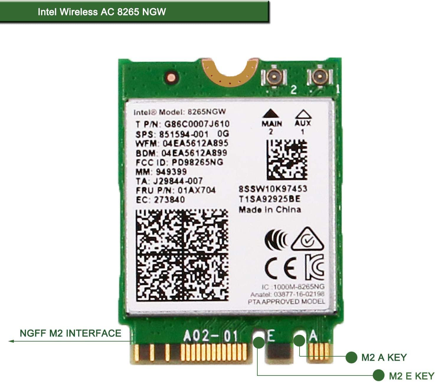RCC Dual Band Wireless AC 8260 8260AC NGFF WiFi Card USE for Intel 8260 AC AC8260 8260NGW M.2 NGFF 2.4//5GHz Bluetooth 4.2 Wireless WiFi Card 867 Mbps