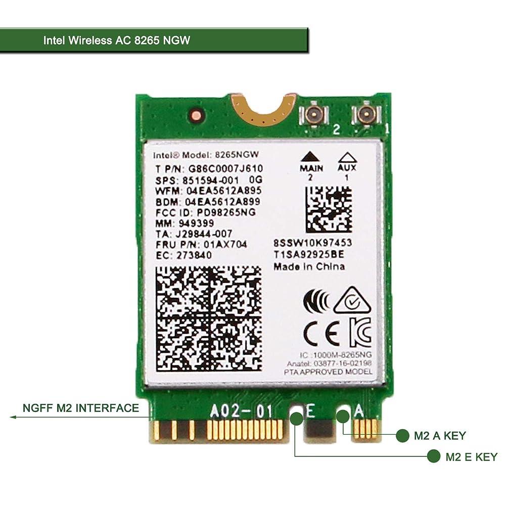脈拍要旨栄養ワイヤレスネットワークアダプタ ノートパソコンとデスクトップPC用 - NGFF M2 2230 Wi-Fiカード - 2.4GHz 300Mbpsまたは5GHz 867Mbps(80MHz) Bluetooth 4.2-デュアルバンドワイヤレスBluetoothアダプタ インテルワイヤレス-AC 8265 NGW