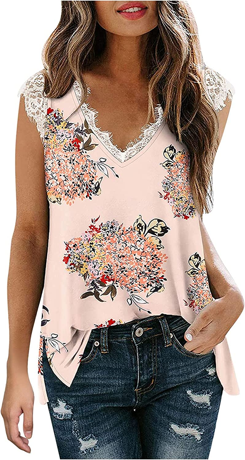 Womens Tank Tops Plus Size,Women's Casual V Neck Lace Trim Cami Tops Fashion Elegant Loose Sleeveless Summer T Shirts Blouses Pink