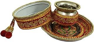 indianbeautifulstore Indian Karwachauth/Karvachauth Thali Set Handmade Decorative Plate Channi Pooja Thali Puja Set