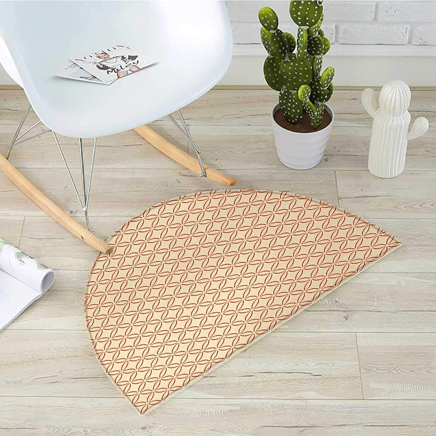 Geometric Semicircular CushionLattice Circles Pattern with Intertwined Oval Shapes Traditional Japanese Entry Door Mat H 39.3  xD 59  Vermilion Cream