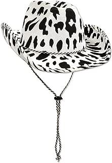 Beistle 60830 Cow Print Cowboy Hat, White/Black