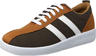Salerno Textile Lace-Up Leather Side Panels Contrasting Fashion Sneakers with Pull-Tab For Men
