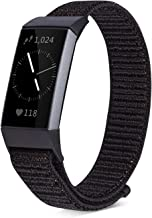 Shangpule Compatible for Fitbit Charge 3 Bands, Replacement Woven Nylon Sport Watch Bracelet Strap Hook and Loop Adjustable Wrist Band Accessories for Charge 3 Women Man
