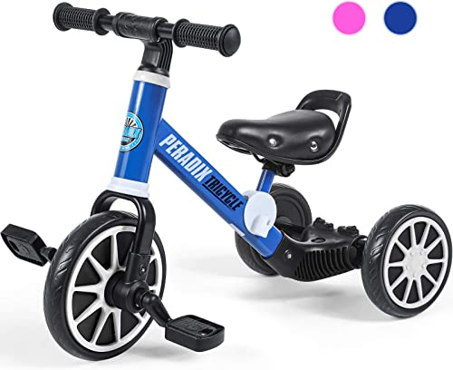 Peradix 3 in 1 Kids Tricycles for 1-3 Years Old, Three Wheels Toddlers Trike with Detachable Pedals, Toddler Tricycle...