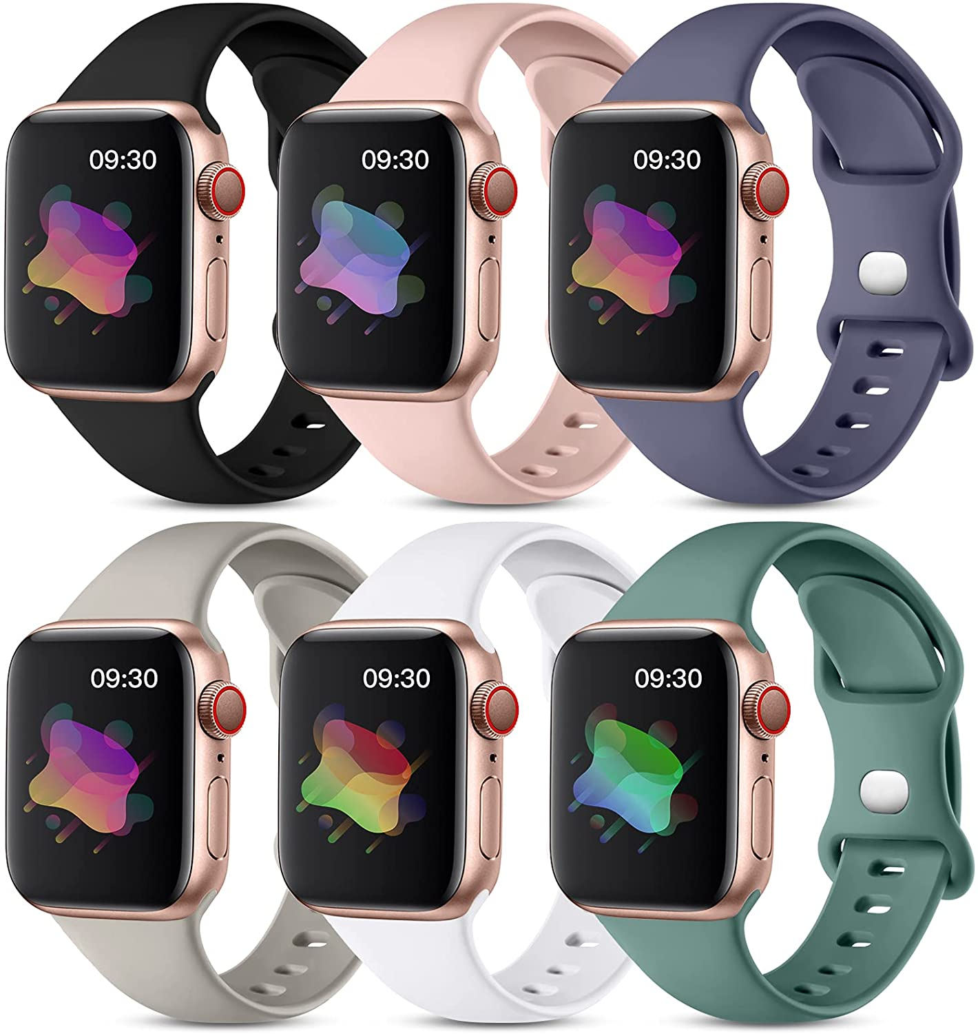 Maledan 6 Pack Bands Compatible with Apple Watch Band 40mm 38mm 44mm 42mm Women Men, Soft Silicone Waterproof Sport Strap Replacement Wristbands for iWatch Series 6 5 4 3 2 1 SE Small Large