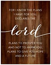 Andaz Press Christian Bible Verses 8.5x11-inch Wood Poster, Jeremiah 29:11 for I Know The Plans I Have for You, Plans to Prosper You, Plans to give You Hope and a Future, 1-Pack, Graduation New Baby