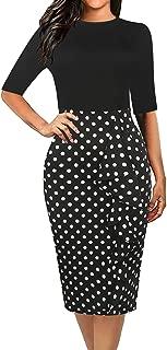 Women's Vintage Polka Dot Floral Patchwork Stretchy Work Casual Bodycon Sheath Pencil Dress OX055
