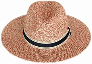 Straw Hat Beach UV Cut Lightweight Type Casual Outdoor Travel Ribbon Hat Ladies Straw Hat Spring Summer Large Size Folded Straw Hat (Color : Pink)