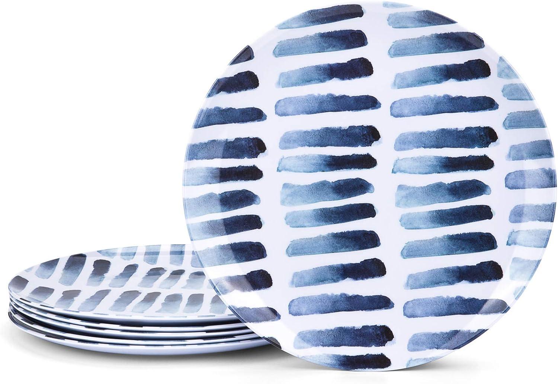 Blue Stripe Melamine Plates Very popular 10.5-inch Selling set 6 Dinner of