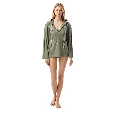 MICHAEL Michael Kors Solid Terry Cover-Up Hoodie w/ Front Pocket and Logo Ties (Army Green) Women