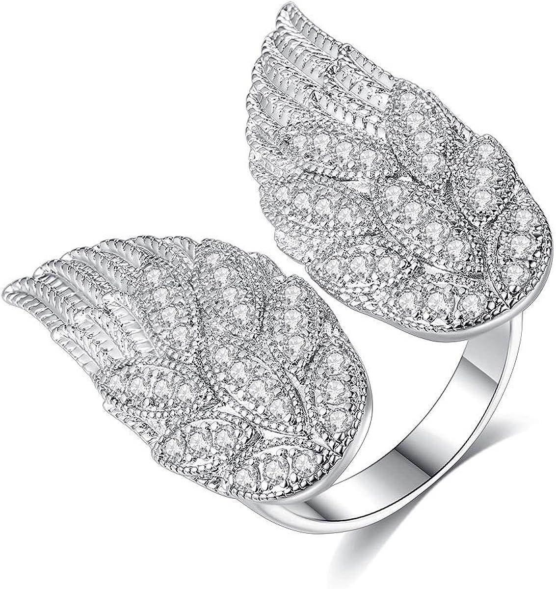 Vanski Angel Wings Max 70% OFF Ring for Cubic Women Zirconia Adjustable Colorado Springs Mall