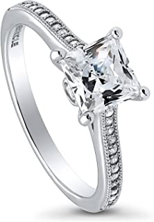 BERRICLE Rhodium Plated Sterling Silver Princess Cut Cubic Zirconia CZ Solitaire Promise Engagement Ring 1.42 CTW