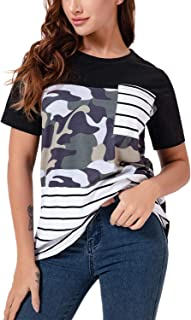 DREAM SLIM-Womens T Shirts Short Sleeve Striped Color Block Loose Blouse Casual Tunic Tops Printed Graphic Tees