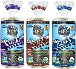 Lundberg Organic Gluten-Free Vegan Rice Cakes 3 Flavor Variety Bundle: (1) Brown Rice Lightly Salted, (1) Brown Rice Salt-...
