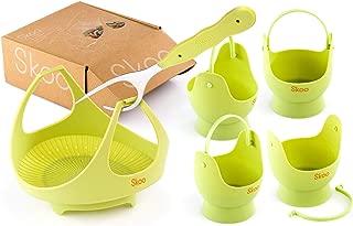 Skoo Egg Poacher Cups + Vegetable Steamer Basket + Fork + Free Ebook - Silicone Egg Cooker and Food Steamer Set - For Stove Top, Instant Pot and Microwave (Green)