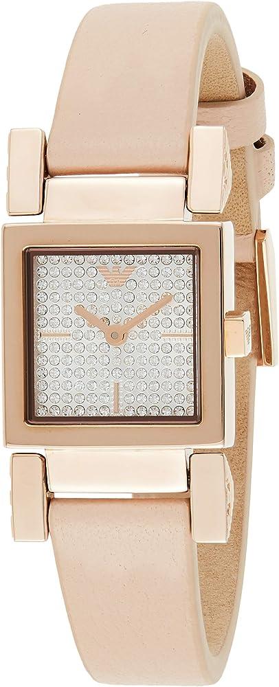 Emporio armani, orologio per donna, in acciaio inossidabile lucido, di colore rose gold, cinturino in pelle AR11279