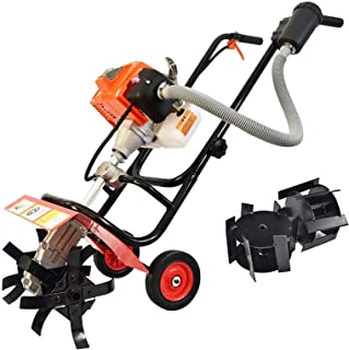 QILIN Garden Cultivator, 2-Cycle/4-Cycle Mini Cultivator, Hand-push Tiller, Multi-function Scarifier/Weeder, Tillage Width...
