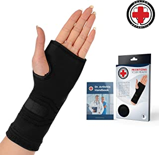 Doctor Developed Wrist & Hand Compression Sleeve/Support/Brace & Doctor Written Handbook - Palm Protector with Gel Pad, Optimum Comfort for Arthritis, Carpal Tunnel, RSI & More (Black, Medium)