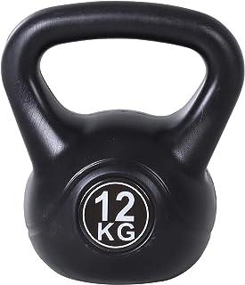 benzoni Kettlebell per Allenamento 12 kg in PVC e Sabbia Nero