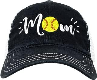 Softball Mom Hat   Cute Team Color Fan Cap for Women Black Red Blue Green Purple