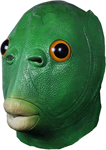 lowest Animal online Headgear, Green Mouth Fish Mask Headgear Realistic Animal Headgear,Safe Non-toxic Latex Face Cover,Funny Halloween Party Cospaly Props,Performance Role lowest Playing Games online