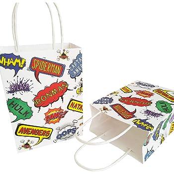 Comic Superheroes Saying Cellophane Bags Party Bags Superhero Pack of 12