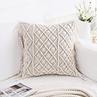 Party Stuff Knitted Cushion Cover Cotton Macrame 16 inch 200 TC, Hand-Woven for Living Room, Sofa, Inner Lining, Side...