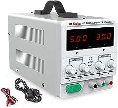 Dr.meter 30V / 5A DC منبع تغذیه یک منبع تغذیه تک خروجی 110V / 220V قابل تعویض با کلیپ تمساح گنجانده شده ، کابل 3 پرنگ آمریکا ، PS305DM