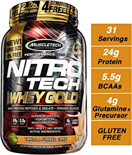 MuscleTech NitroTech Whey Gold, 100% Whey Protein Powder, Whey Isolate and Whey Peptides, Vanilla Funnel Cake, 2.2 Pound