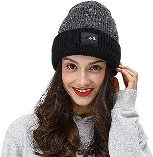 LETHMIK Fleece Lined Beanie Hat Mens Winter Solid Color Warm Knit Ski Skull Cap