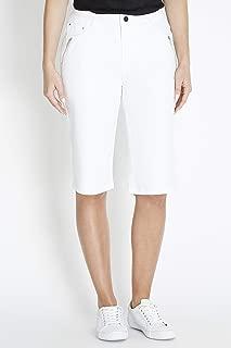 Rockmans Knee Length Solid Colour Short White 8 - Womens