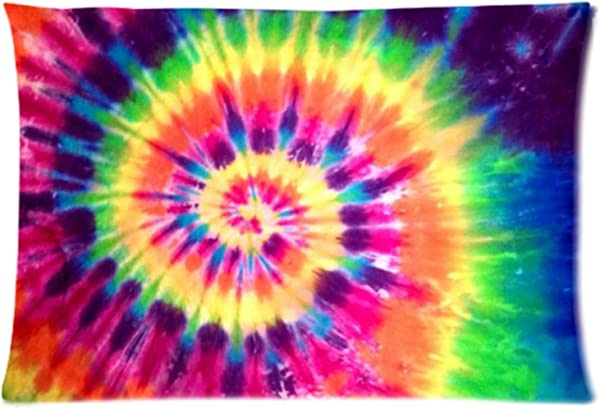 WECE Funny Cheap Pillow Case Colorful Tie Dye Pillowcase Rectangle Zippered Pillow Cases Pillow Protector Cover Case Standard Size 20 L X 30 W