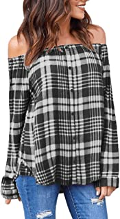 Cold Off Shoulder Button Down Shir for Women Plaid Tops Long Sleeve Blouse Party