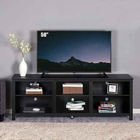 """70 inches Entertainment Center TV Stand Media Console, Wood Texture Storage Cabinet for TVs Up to 80"""", Black"""