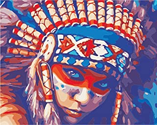 Wowdecor Paint by Numbers for Adults Beginner Kids, Number Painting - Native American Indian Woman 40x50 cm - Wall Art Gifts