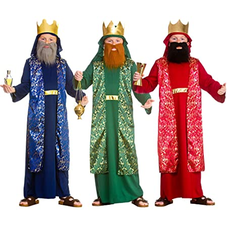 Boys Green King Wise Man Men Christmas Nativity Fancy Dress Costume Outfit 3-1