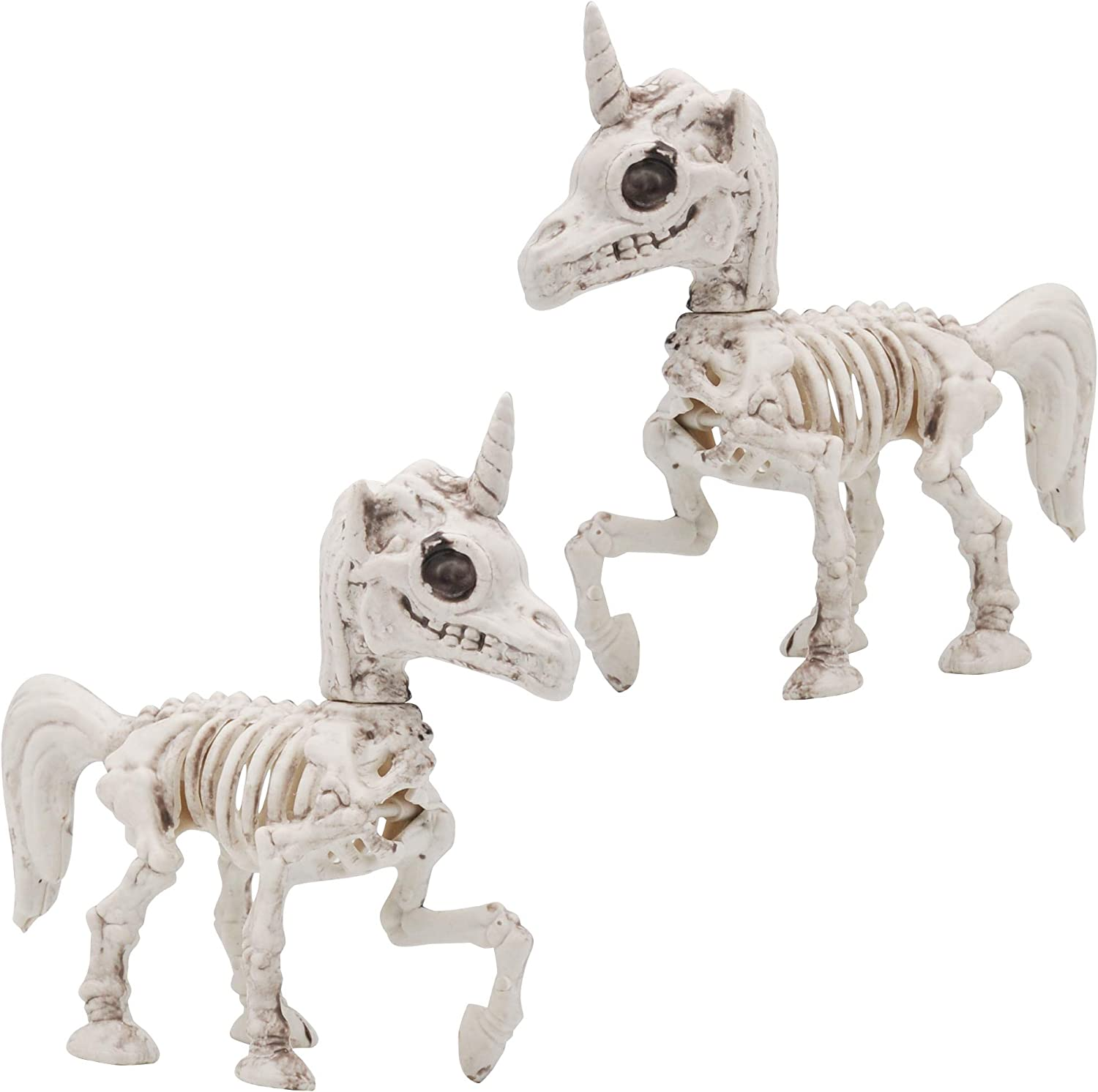 """Halloween Decoration 2 PCs 7"""" Pose-N-Stay Unicorn Skeleton Plastic Bones with Posable Joints for Pose Skeleton Prop Indoor / Outdoor Spooky Scene Party Favors Décor."""