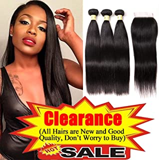 Mureen Brazilian Straight Hair 3 Bundles with Closure 4×4 Virgin Hair Lace Closure with Bundles Unprocessed 8a Straight Human Hair Extensions Weave Weft Natural Color (14 16 18 + 12, Free Part)
