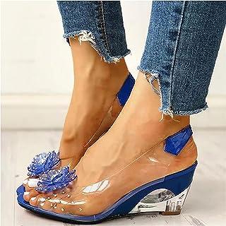 Sandales transparentes avec motif fleur rivetée, sandales strass transparentes avec talon compensé et chaussures de loisir...