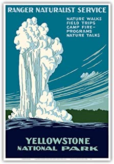 Yellowstone National Park - Old Faithful Geyser - Ranger Naturalist Service - Vintage World Travel Poster by Work Projects Administration (WPA) c.1938 - Master Art Print - 13in x 19in