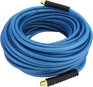 "Milton (1623-3) FLEX HOSE Lightweight braided ""polyurethane"" hybrid air hose 100 ft. x 1/4"" ID, 200 PSI with ¼"" MNPT brass fitting , Blue"